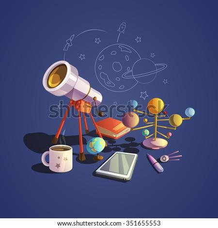 astronomy concept with retro