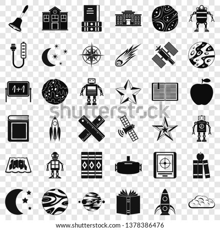 Astronomy exploration icons set. Simple style of 36 astronomy exploration vector icons for web for any design