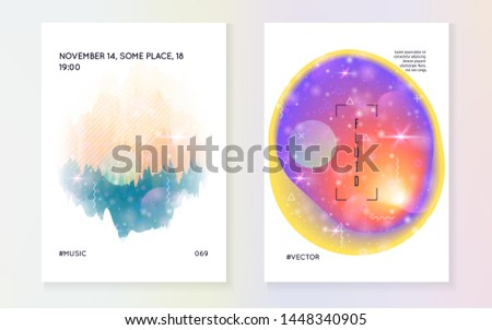 Astronomy flyer. Holographic gradients. Modern science banner with planet, sun, deep fluid light. 3d magic dreamer unicorn sparkles. Astronomy flyer with galaxy shapes and star dust.