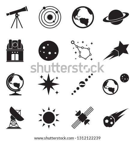 Astronomy Icons. Black Flat Design. Vector Illustration.