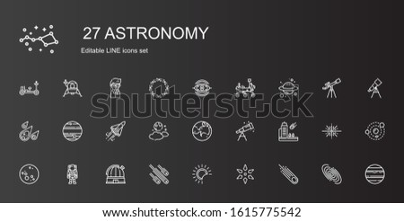 astronomy icons set. Collection of astronomy with asteroid, science, eclipse, meteorites, observatory, astronaut, moon, meteorite, telescope. Editable and scalable astronomy icons.