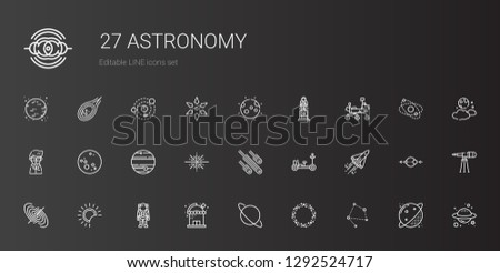 astronomy icons set. Collection of astronomy with constellation, asteroid, uranus, observatory, astronaut, eclipse, black hole, space shuttle. Editable and scalable astronomy icons.