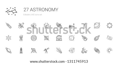astronomy icons set. Collection of astronomy with meteorite, solar system, comet, telescope, lander, astronaut, saturn, asteroid, moon. Editable and scalable astronomy icons.