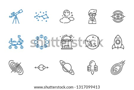 astronomy icons set. Collection of astronomy with meteorite, spaceship, saturn, solar system, black hole, rocket, moon, observatory, moon phases. Editable and scalable astronomy icons.