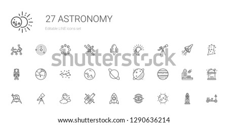 astronomy icons set. Collection of astronomy with moon, nebula, rocket, hubble space telescope, telescope, lander, venus, planet, uranus. Editable and scalable astronomy icons.