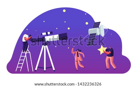 Astronomy Science, Character Watching on Space at Telescope, Woman Pull Sputnik as Kite, Studying, Cosmos Exploration, Scientific Investigation, Education, Cartoon Flat Vector Illustration, Banner