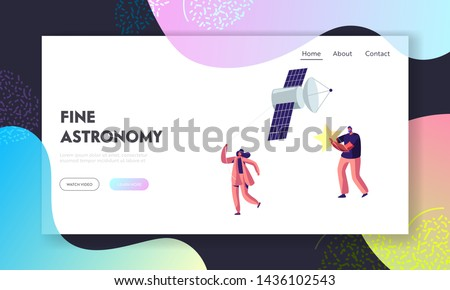 Astronomy Science, Man Hold Star, Woman Pull Sputnik as Kite, Space, Cosmos Exploration , Scientific Investigation, Education, Website Landing Page, Web Page. Cartoon Flat Vector Illustration, Banner