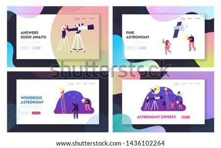Astronomy Science Website Landing Page Set, People Characters Studying Space, Cosmos Exploration, Sputnik, Scientific Investigation, Education, Web Page. Cartoon Flat Vector Illustration, Banner