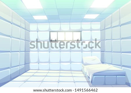 Asylum, madhouse empty interior with bed, white padded soft floor and walls, glowing lamps and small window. Psychiatric clinic room for insane patient with mental disorder Cartoon vector illustration Stock photo ©