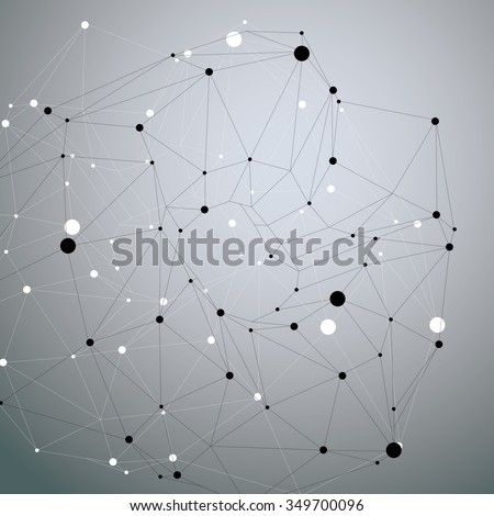 Asymmetric 3D abstract object with connected lines and dots, geometric form with lattice structure.