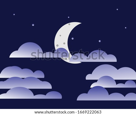 at night there is a crescent