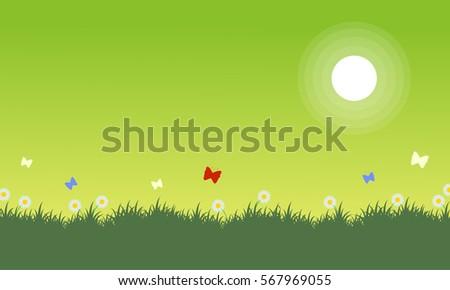 at spring landscape on green
