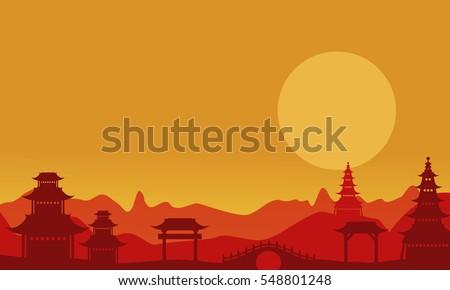 At sunset pavilion landscape of silhouettes