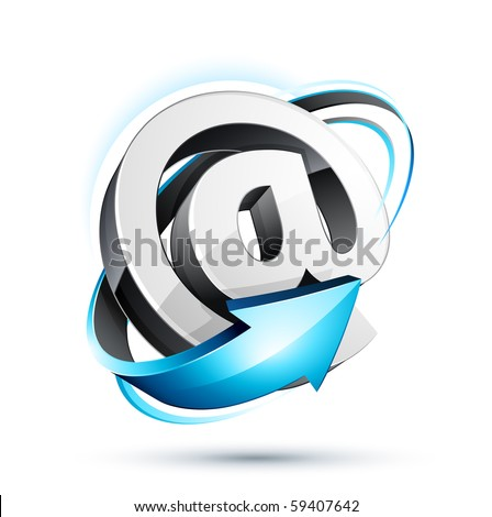 at symbol with blue arrow - stock vector