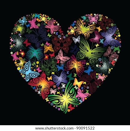At the heart of the Butterflies - stock vector