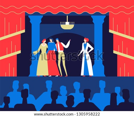 At the theatre - flat design style colorful illustration. High quality composition with characters, actors performing on the stage, acting in costumes. Entertainment, culture, leisure concept