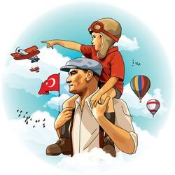 Atatürk carries the little boy on his shoulders