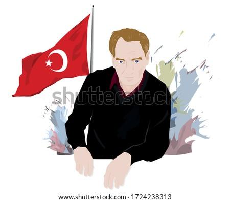 atatürk Mustafa Kemal  ve Türk bayrağı Stok fotoğraf ©