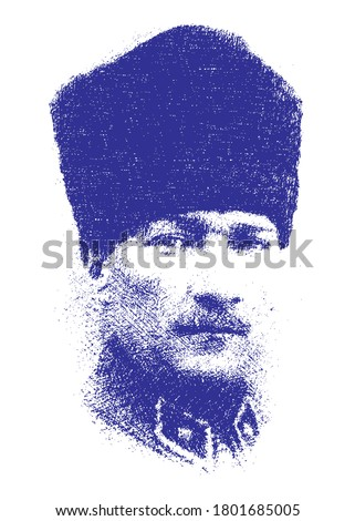 Ataturk or Atatürk, Mustafa Kemal. Minimal linear pen sketch vector illustration