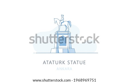 Ataturk statue, Ankara, Turkey. The famous landmark of Ankara, tourists attraction place, skyline vector illustration, line graphics for web pages, mobile apps and polygraphy.