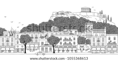 Athens, Greece - Seamless banner of the city's skyline, hand drawn black and white illustration (can be tiled horizontally)
