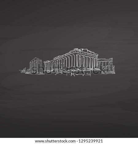 Athens Greece signs on blackboard. Digital chalk drawn vector sketch on blackboard. European capitals destinations.
