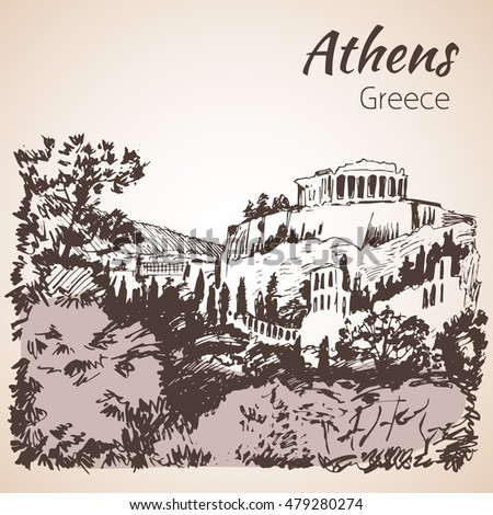 athens panoramic outline sketch