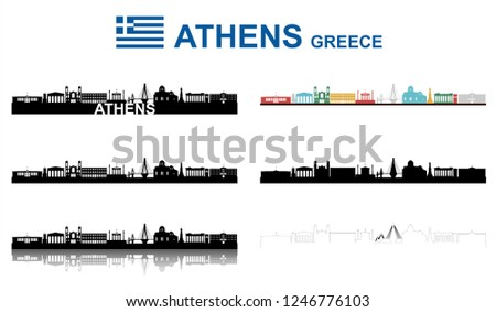 Athens Skyline on white Background