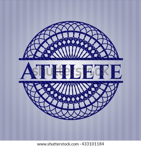 Athlete emblem with jean texture
