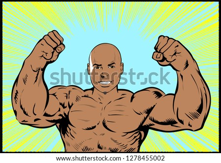 Athlete Front Double Bicep Pose. Well-built strong muscular young Bodybuilder, shirtless Black African American man with arms raised  flexing his Biceps and showing muscles and tension. Comic Book