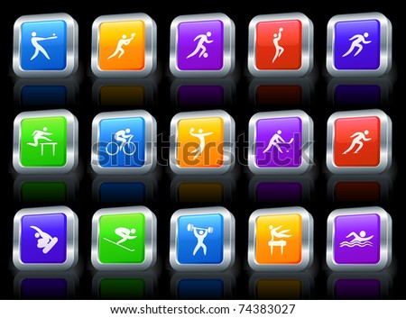 Athlete Icon on Square Button with Metallic Rim Collection Original Illustration