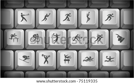 Athlete Icons on Gray Computer Keyboard Buttons Original Illustration