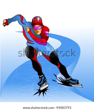 athlete in a beautiful form in the dead cold track (vector);