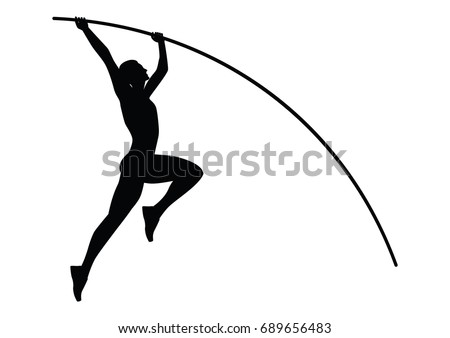 vault gymnastics silhouette. Athlete Jumping With A Pole - Sketch- Black On White Background Isolated Vault Gymnastics Silhouette