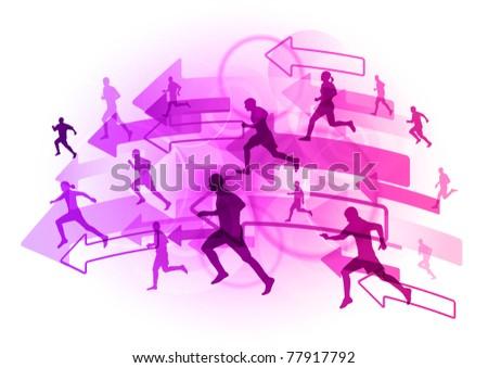 athlete on the purple arrows