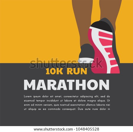 athlete runner feet running or walking on road . running poster template. closeup illustration vector