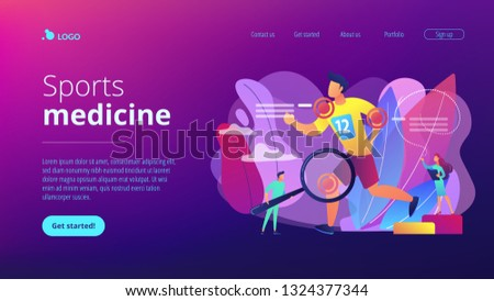 Athlete running and tiny people physicians treating injuries. Sports medicine, sports medical services, sports physician specialist concept. Website vibrant violet landing web page template.