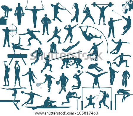 Athlete silhouettes set - sports vector illustration