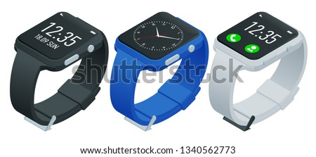 Athlete smart watch or fitness bracelet. Isometric smart watch isolated on white. Smartwatch reflected on white surface. Watch icon on smart iwatch colorful screen.