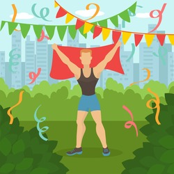 Athlete winner in park, vector illustration. Jogging run activity, adult people character finish marathon, cartoon sport win. Sporty male in speed race competition, healthy lifestyle.