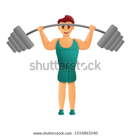 Athlete with barbell icon. Cartoon of athlete with barbell vector icon for web design isolated on white background