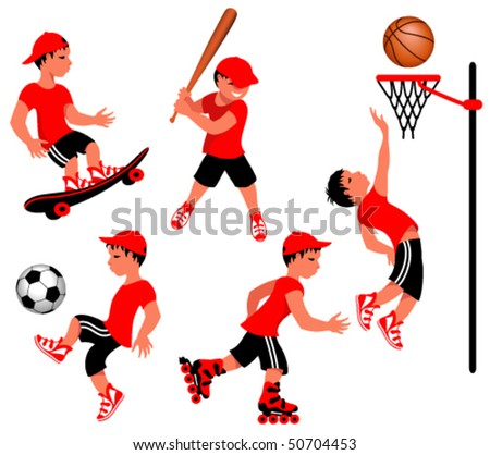 Athletes in various sport activities
