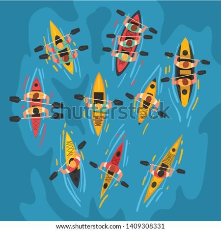 Athletes Paddling Kayaks Set, Kayaking Water Sport, Outdoor Activities in Summertime, Top View Vector Illustration