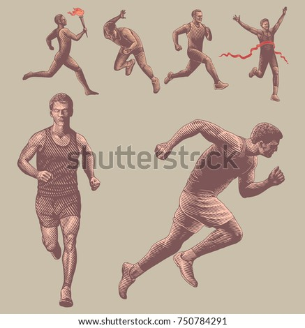 Athletes runners. Design set. Hand drawn engraving. Vector vintage illustration. Isolated on color background. 8 EPS