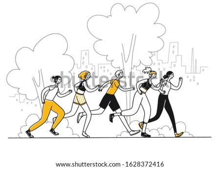 Athletes running marathon. Group of active people jogging in park flat vector illustration. Activity, healthy lifestyle, morning exercise concept for banner, website design or landing web page