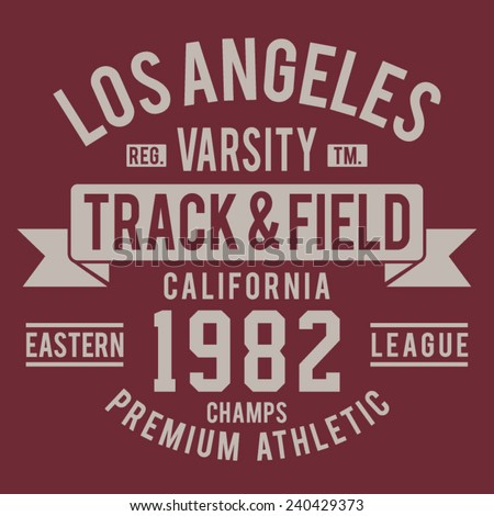 Athletic California sport typography, tee shirt graphics, vectors