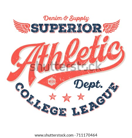Athletic Dept., College League - Tee Design For Print