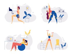 Athletic Female Character Exercising Fitness at Home. Sport Healthy Lifestyle Wellness Concept with Fit Woman Doing Pilates, Training. Vector Flat Illustration