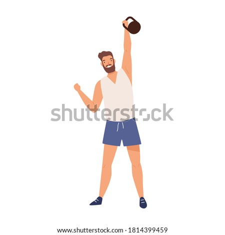 Athletic male lifting kettlebell demonstrate power vector flat illustration. Muscular weightlifter or powerlifter training with heavy equipment isolated on white. Strong sportsman having workout Сток-фото ©