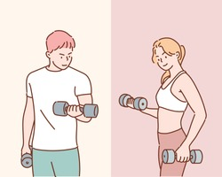 Athletic man and woman with a dumbells. Hand drawn style vector design illustrations.